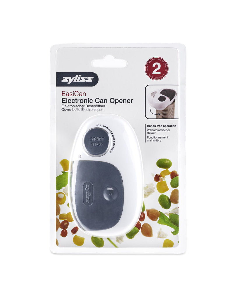 Zyliss/DKB Electric Can Opener, Gray/White, Battery-Operated