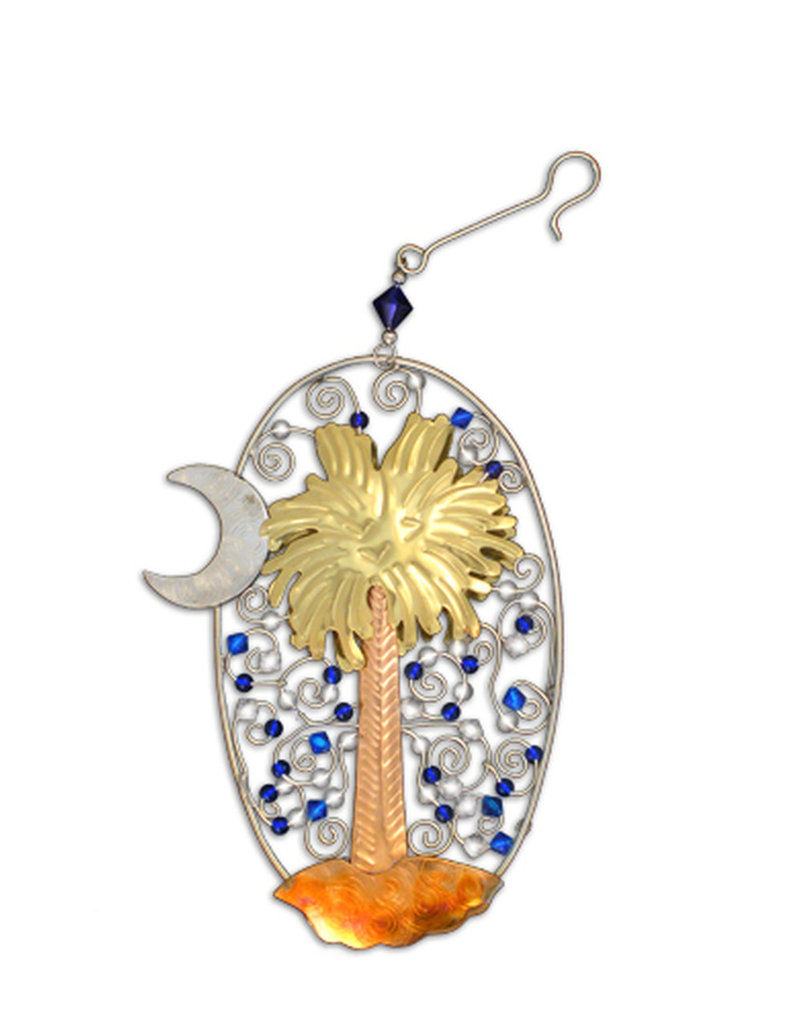 Pilgrim Imports Ornament, Palmetto with Crescent, Nickel-Copper-Brass