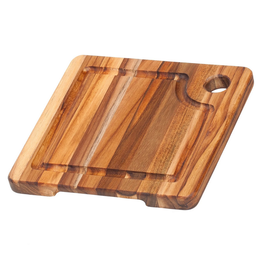 TeakHaus Bar Board with Juice Canal, Teakwood, 8x8 Square ciw