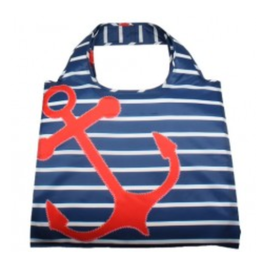 enVbags Reusable Bag with Zipper Pouch - Red Anchor