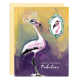 Darling Lemon Greeting Card - Birthday, Fabulous Flamingo