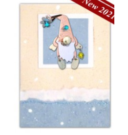 Greeting Card-Mailable Art, Holiday Snowflake Gnome
