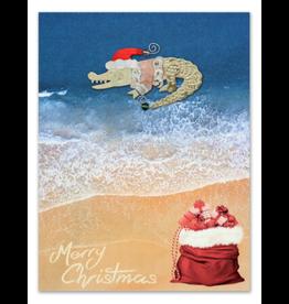 Greeting Card-Mailable Art, Holiday Santa Gator