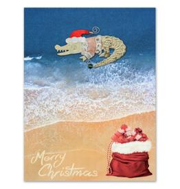 Pilgrim Imports Greeting Card-Mailable Art, Holiday Santa Gator
