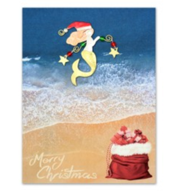 Greeting Card-Mailable Art, Holiday Christmas Mermaid