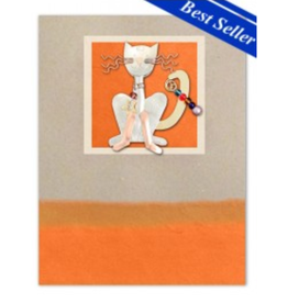 Pilgrim Imports Greeting Card-Mailable Art, Friendship, Sly Cat