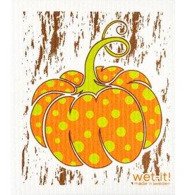 Wet-It Swedish Dish Fall Polka Dot Pumpkin