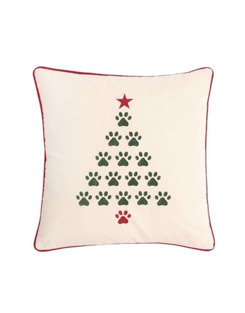C and F Home Holiday Pillow Christmas Tree Paws 18x18