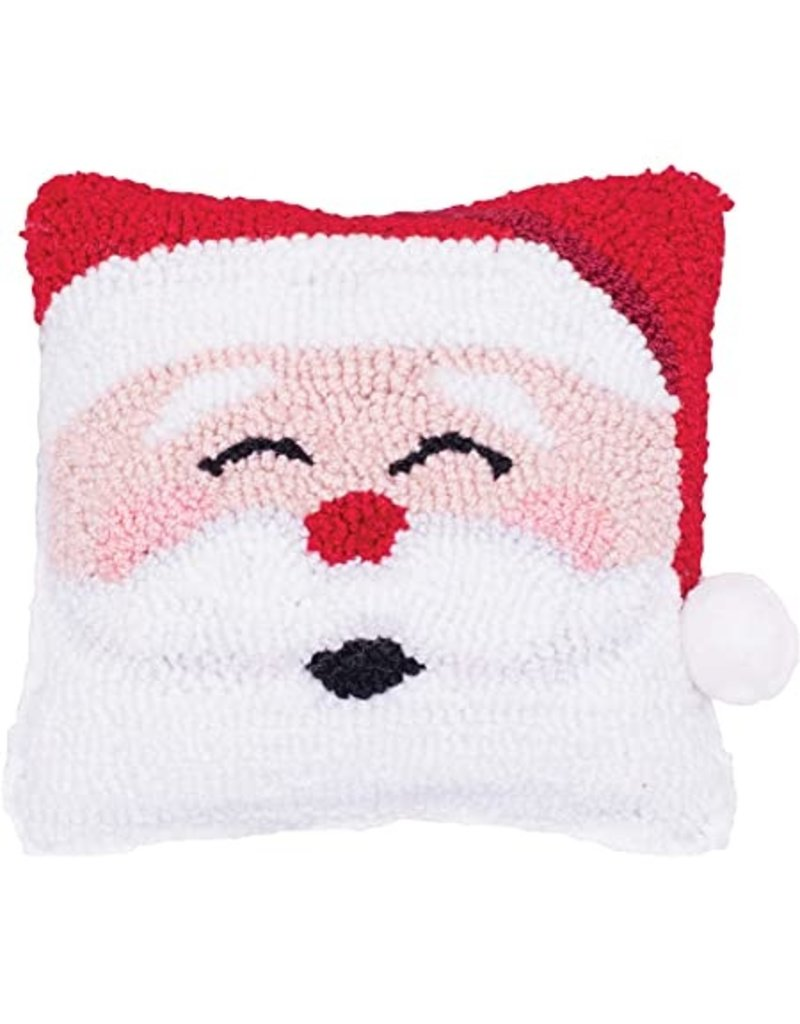 C and F Home Holiday Pillow Happy Santa, hooked 8x8