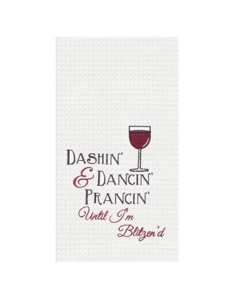 C and F Home Holiday Dish Towel Dashin Til Blitzened, waffle weave