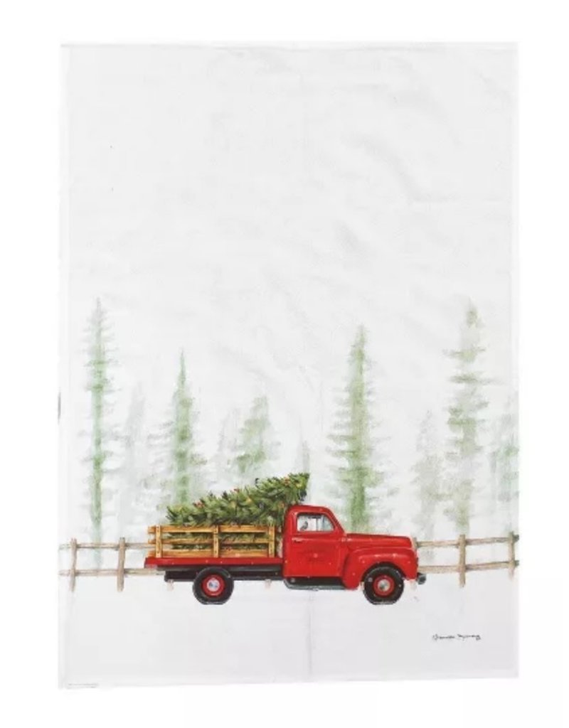 C and F Home Holiday Dish Towel Holiday Truck Cruiser, floursack