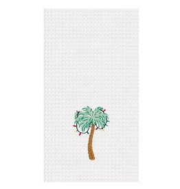 C and F Home Holiday Dish Towel Palm Tree With Lights, waffle weave