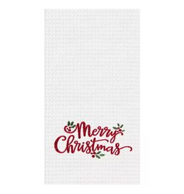 C and F Home Holiday Dish Towel Merry Xmas Holly Leaves, waffle weave