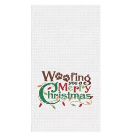 C and F Home Holiday Dish Towel WOOFing Merry Xmas, waffle weave