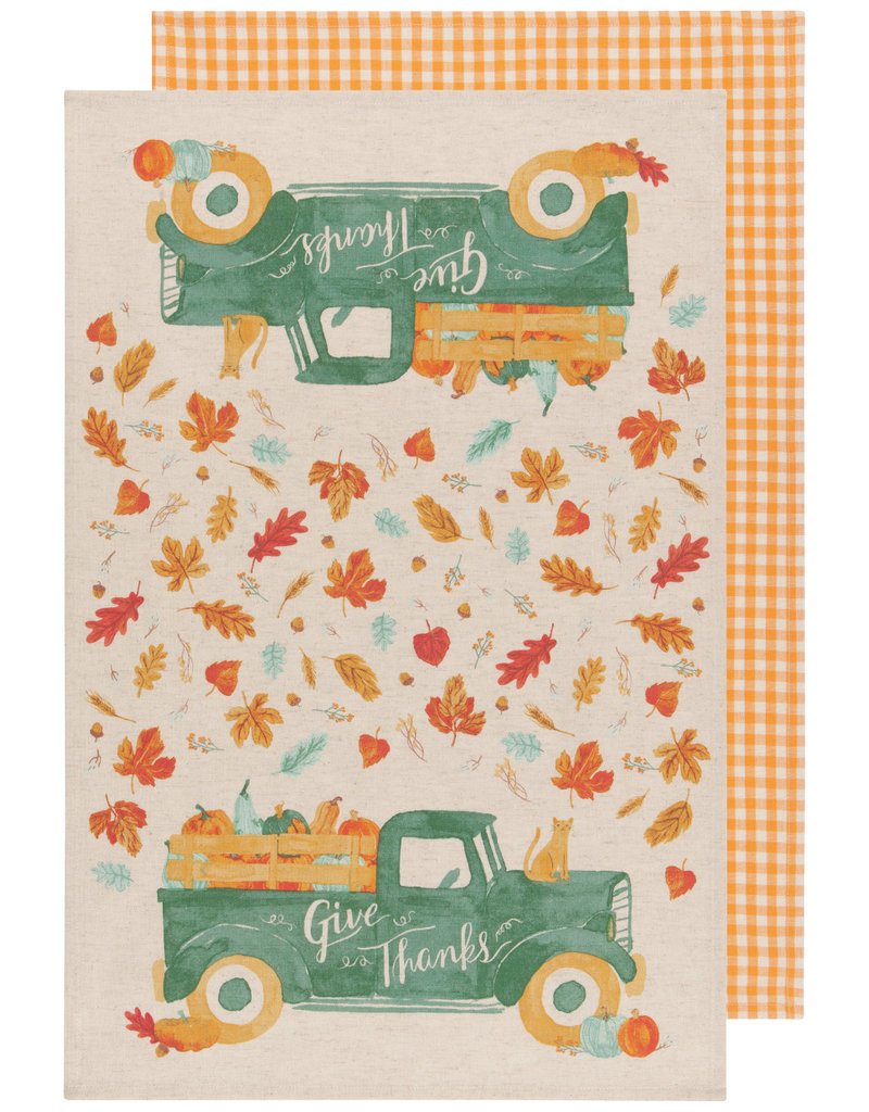 """Now Designs Fall Dish towels Autumn Harvest """"Give Thanks"""", Set of 2"""