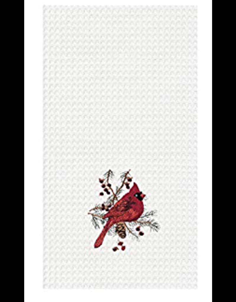 C and F Home Holiday Dish Towel Cardinal, waffle weave