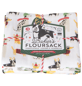 Now Designs Holiday  Floursack Dish towels, Yule Dogs, Set of 3