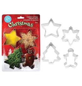 Holiday Cookie Cutters, 4pc Stainless Set, rm