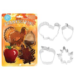 Fall Thanksgiving Cookie Cutters, 4pc Stainless Set, rm