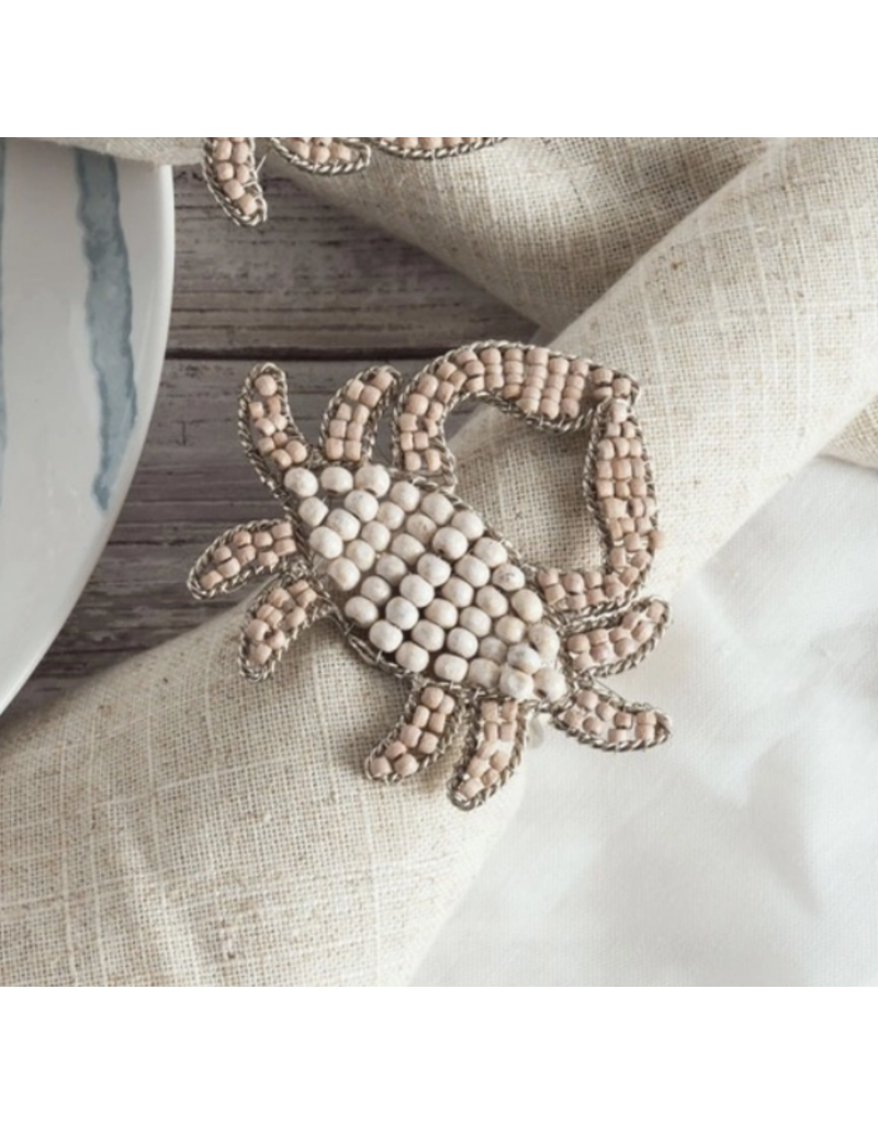 Blue Crab Napkin Ring, wooden beads