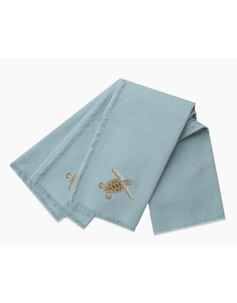 Embroidered Baby Sea Turtle Cotton Napkins, Set of 4