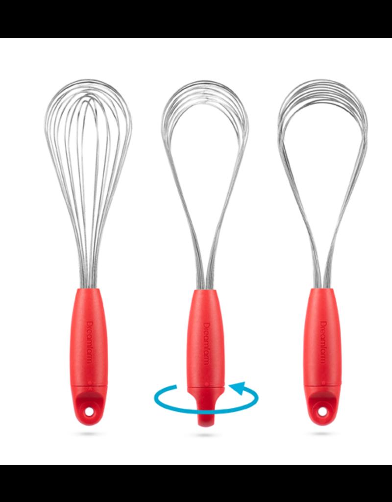 DreamFarm Flisk 1 in 1 Ballon & Flat Whisk, red