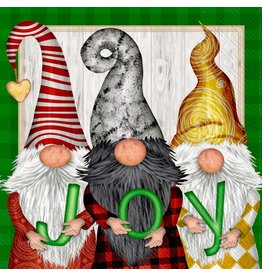 Boston International Holiday Cocktail Napkins, Gnomes JOY, 20x