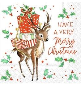 Boston International Holiday Cocktail Napkins, Merry Little Deer, 20x
