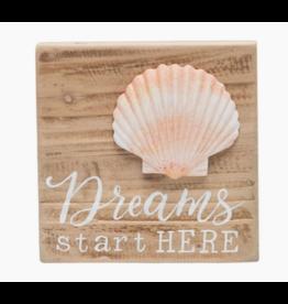 Beachcombers Dreamy Shell Wood Block Sign, 6x6