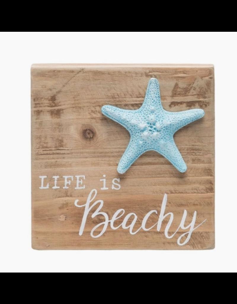 Beachcombers Beachy Starfish Wood Block Sign, 6x6