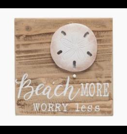 Beachcombers Sandy Beach More Wood Block Sign, 6x6