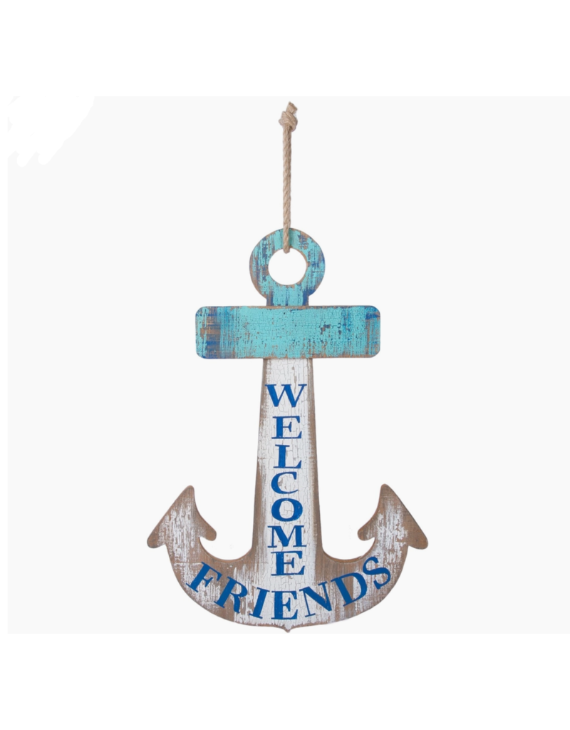 Beachcombers Anchor Welcome Friends Sign, 20x12.5