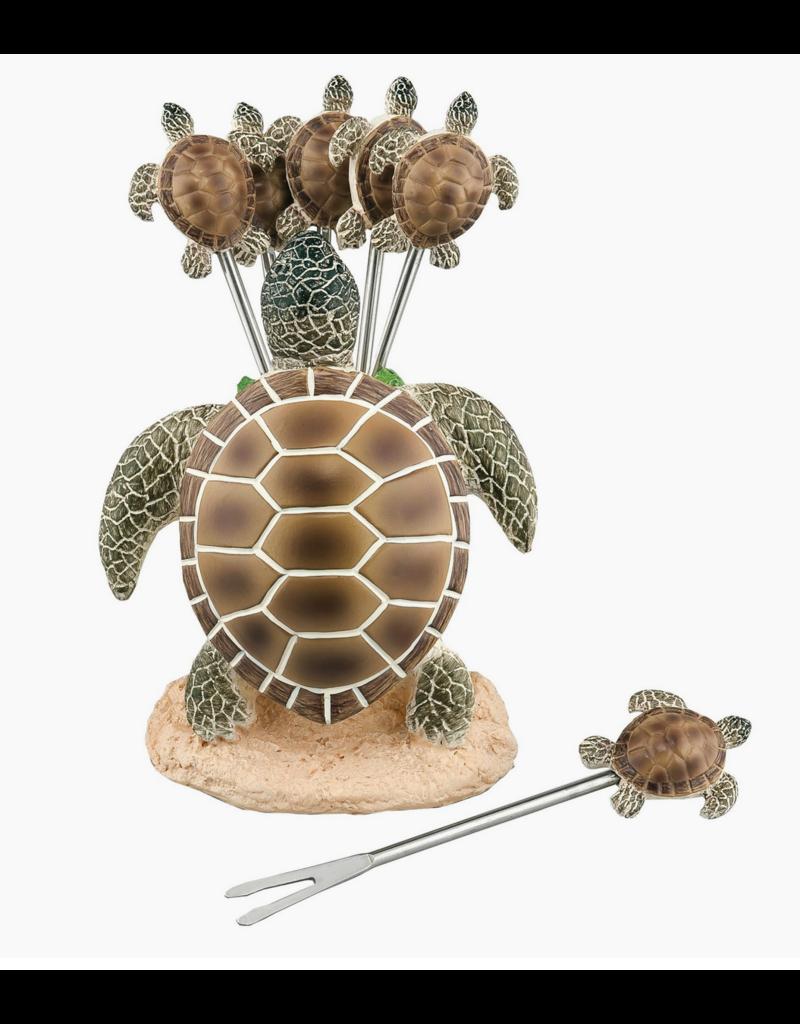 Supreme Housewares 6-Piece Sea Turtle Cocktail Picks with Holder