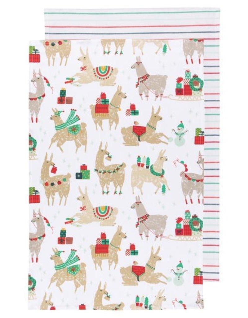 Now Designs Holiday Dish towels FaLaLaLa Llama, Set of 2