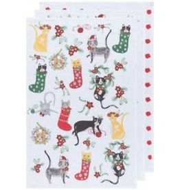 Now Designs Holiday  Floursack Dish towels, Meowy Christmas, Set of 3