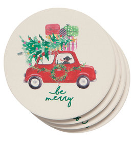 Now Designs Holiday Soak-Up Coasters, Winter Wheels Dogs, Set of 4