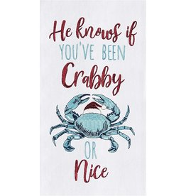 C and F Home Holiday Dish Towel Crabby or Nice, floursack