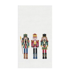 C and F Home Holiday Dish Towel Nutcracker Trio, waffle weave