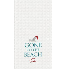 C and F Home Holiday Dish Towel Gone To The Beach Santa, waffle weave