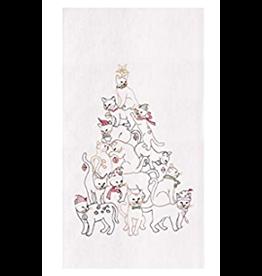 C and F Home Holiday Dish Towel Cat Christmas Tree, floursack