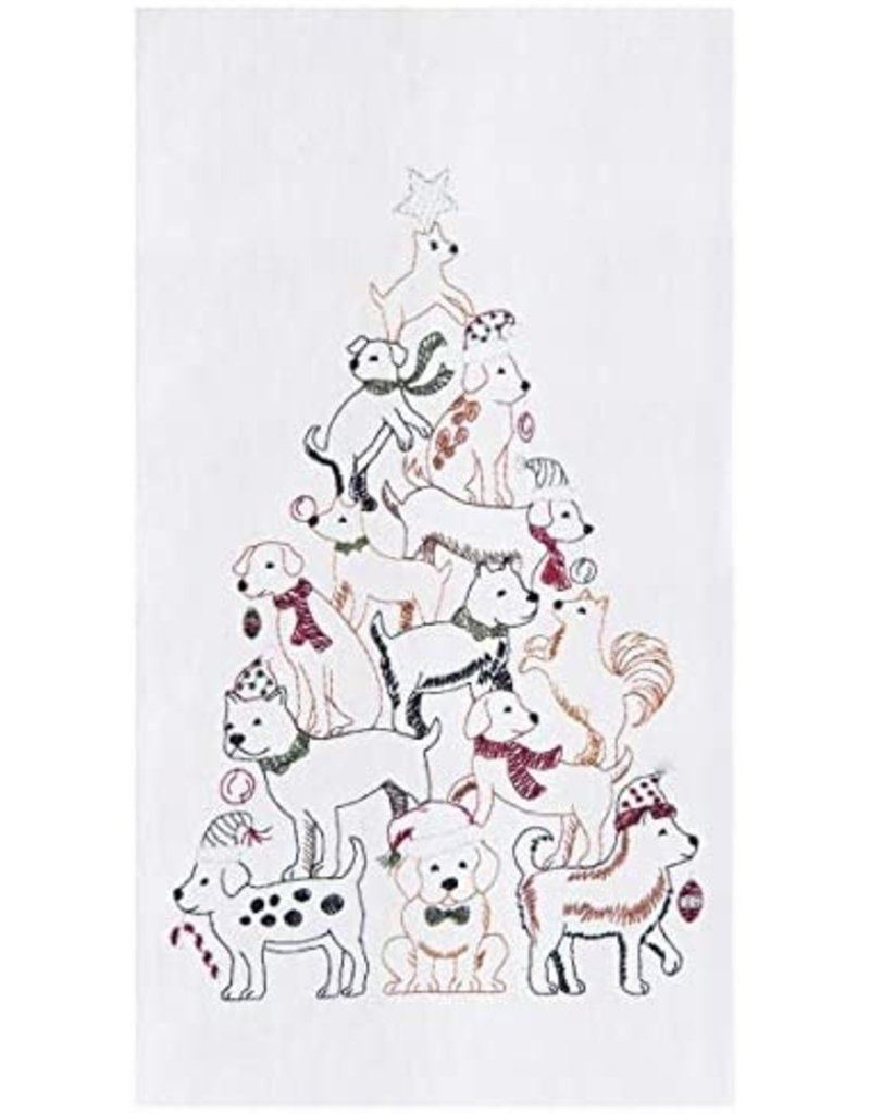 C and F Home Holiday Dish Towel Puppy Tree, floursack