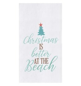 C and F Home Holiday Dish Towel Xmas Better at the Beach, floursack