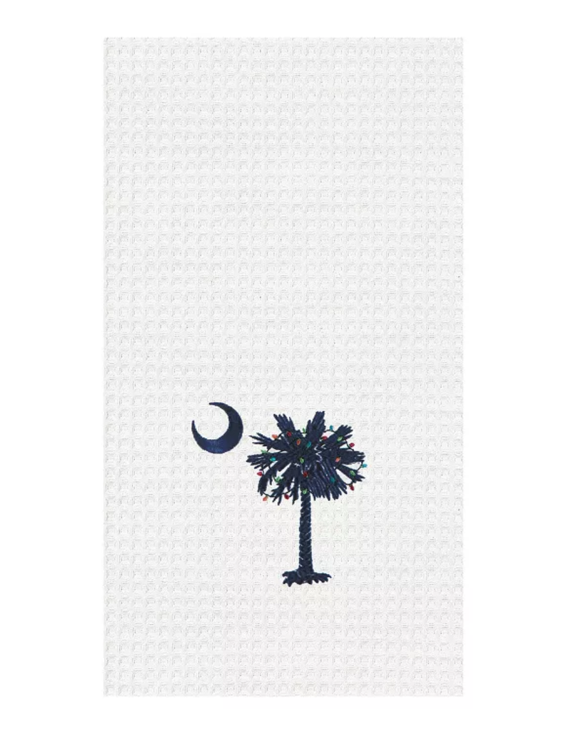 C and F Home Holiday Dish Towel Palmetto With Lights, waffle weave
