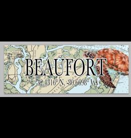 Sign Mini Beaufort Map Coordinates, Sea Turtle 3x9