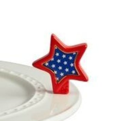 nora fleming sparkly star mini (red, white, blue star)
