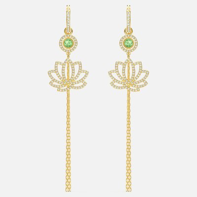 Swarovski SWAROVSKI SYMBOLIC LOTUS PIERCED EARRINGS, GREEN, GOLD-TONE PLATED