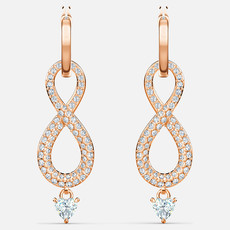 Swarovski SWAROVSKI INFINITY PIERCED EARRINGS, WHITE, ROSE-GOLD TONE PLATED