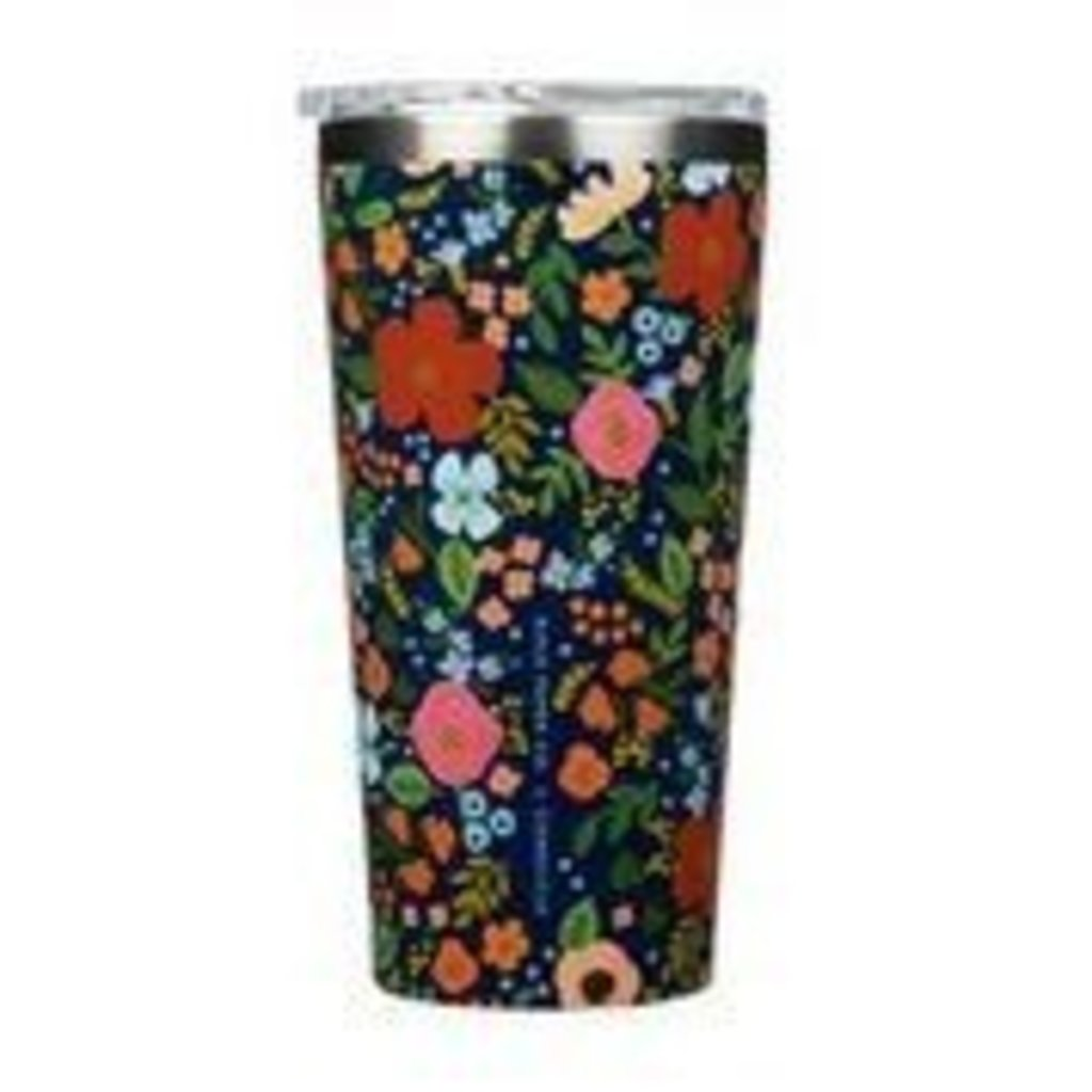 Corkcicle 16oz Tumbler Rifle Paper Gloss Navy WildRose