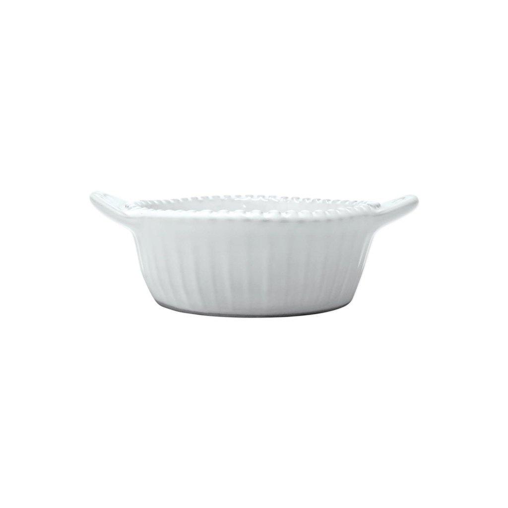 Vietri Incanto Stripe Handled White Small Baker