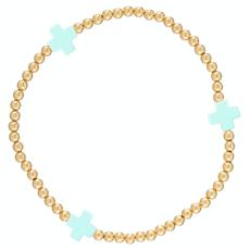 enewton Signature Cross Gold Pattern 3mm Bead Bracelet - Mint